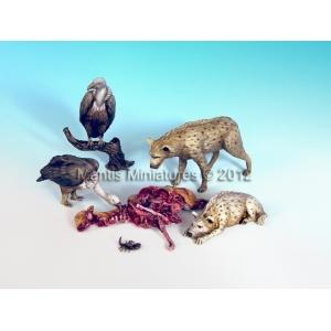 Set d'animaux charognards (x5) Echelle 54mm