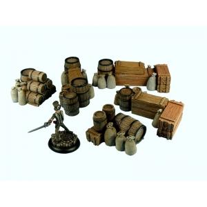 Set de Caisses empilées et Barils Grand Modèle (X5) 28-32mm