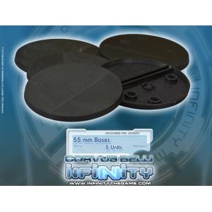 Socles ronds 55 mm pleins PLASTIQUE NOIR (x5)