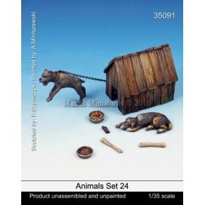 Set de chiens et niche Echelle 54mm