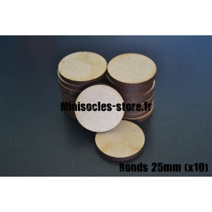 Socles ronds 25 mm pleins MDF (x10)
