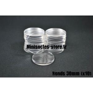 Socles ronds 30 mm pleins ACRYLIQUE TRANSPARENT (x10)