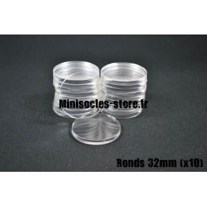 Socles ronds 32 mm pleins ACRYLIQUE TRANSPARENT (x10)