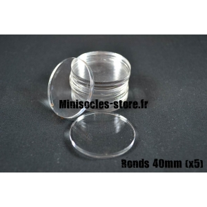 Socles ronds 40 mm pleins ACRYLIQUE TRANSPARENT (x5)