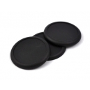 Socles ronds bords arrondis 60 mm pleins PLASTIQUE NOIR (x2)