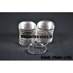 Socles ronds 20 mm pleins ACRYLIQUE TRANSPARENT (x10)
