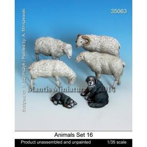 Set de moutons et chiens de berger (x6) Echelle 54mm