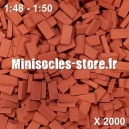 Briques 1/48-50 (x2000) Rouge Foncé