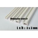 Tige pour poutre métallique en H 3x3mm