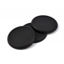 Socles ronds bords arrondis 60 mm pleins PLASTIQUE NOIR (x2)