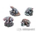 Rats Géants zombies (x4) 28-32mm