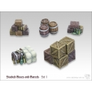 Caisses empilées et Barils (N°1) 28mm MINISOCLES