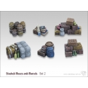 Caisses empilées et Barils (N°2) 28mm MINISOCLES